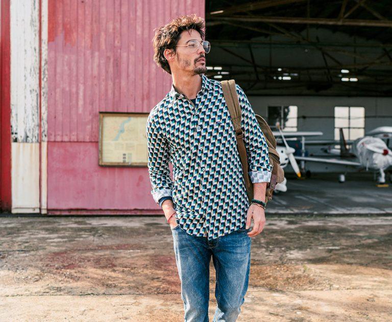 Camisa estampada hombre manga larga