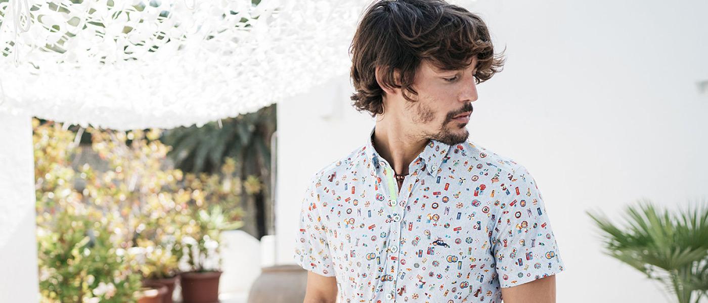 camisas estampadas regular hombre